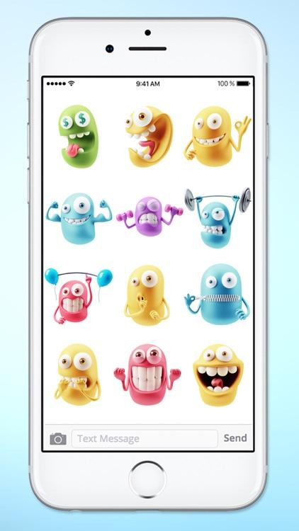 Silly 3D Monster Emojis Sticker Pack screenshot-3