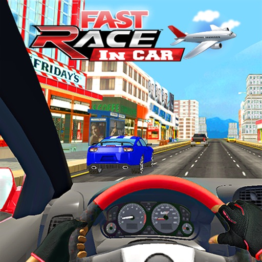 Fast Race In Car : A City Traffic Drive