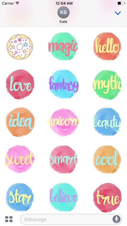 Pastel UNICORN Words Stickers