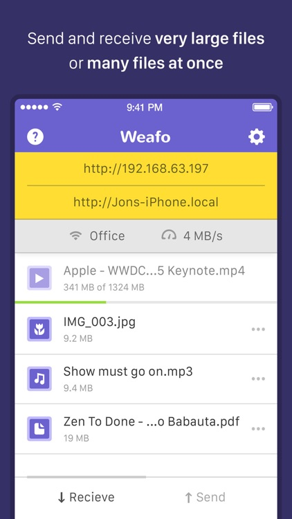 Weafo Pro - Send File, Image and Photo to Computer