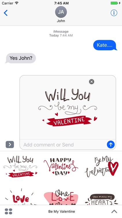 Be My Valentine for iMessage Stickers