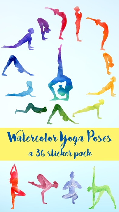 Watercolor Meditation and Yoga Poses Sticker Pack
