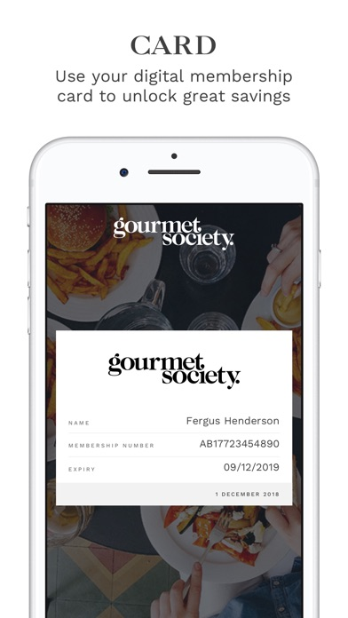 Screenshot for The gourmet society in United Kingdom App Store