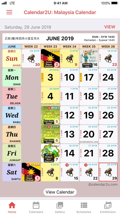 Malaysia Calendar 2019 - 2020