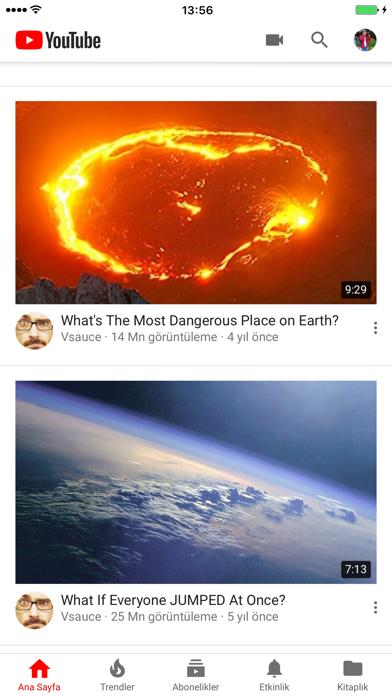 YouTube iphone ekran görüntüleri