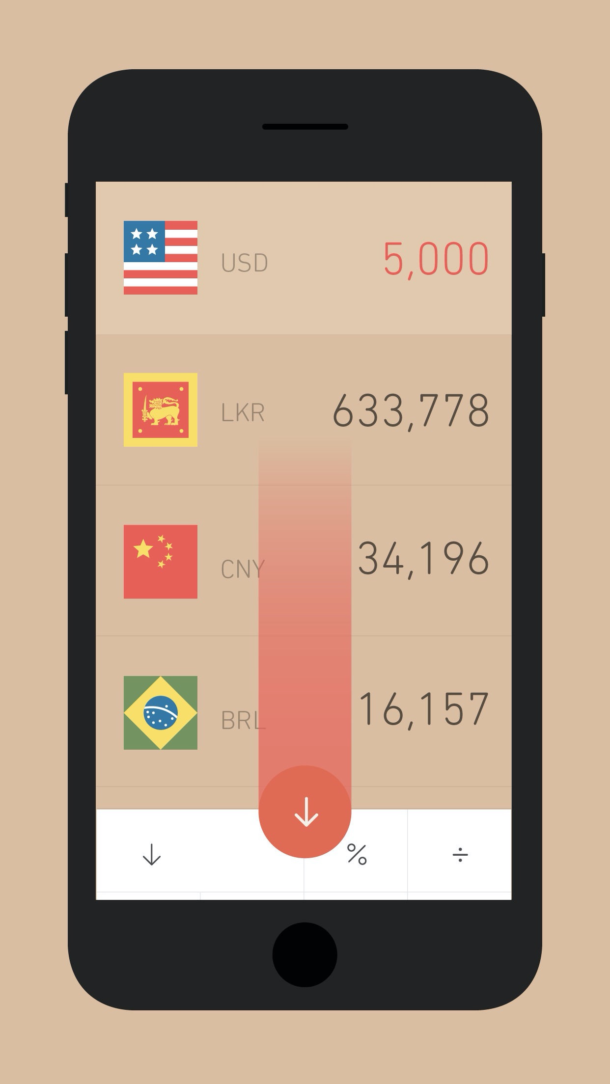 Screenshot do app Currency Converter · Rates