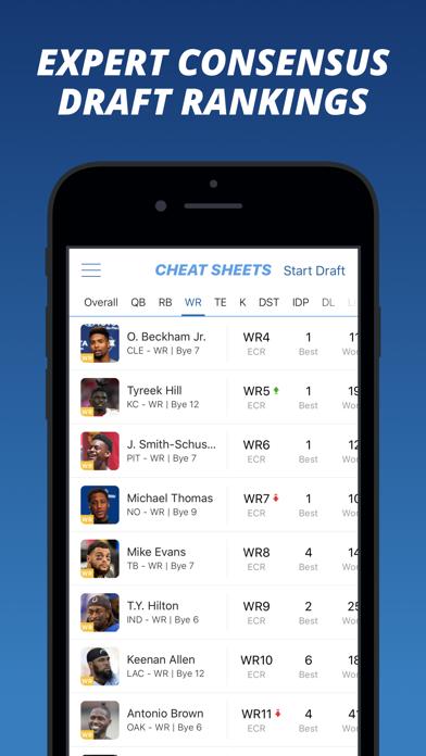 Fantasy Football Cheat Sheets Screenshot