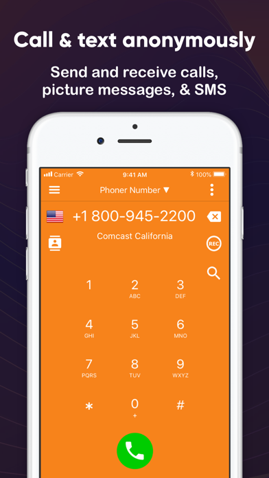 Phoner Text+Call Phone Number Screenshot