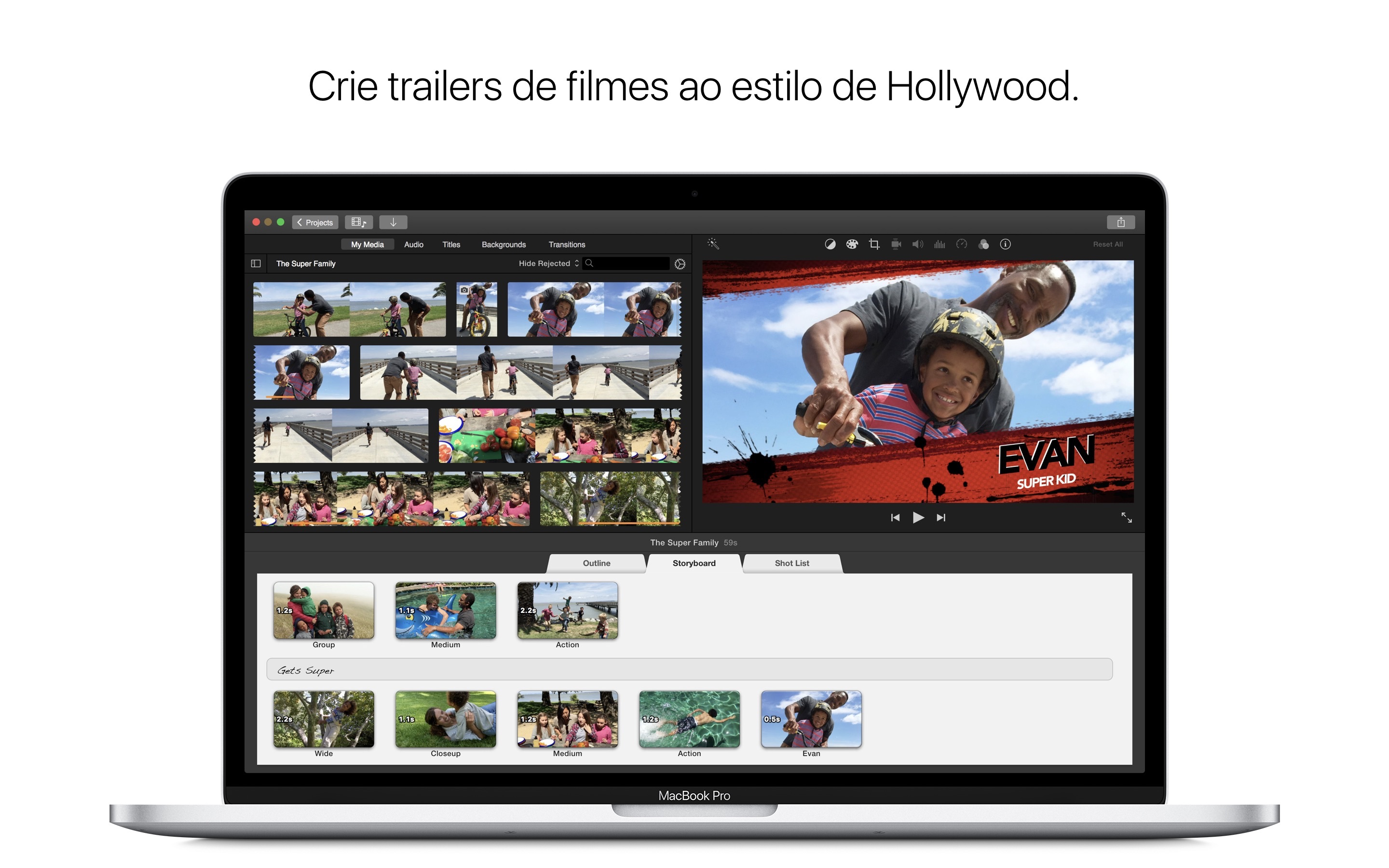 Screenshot do app iMovie