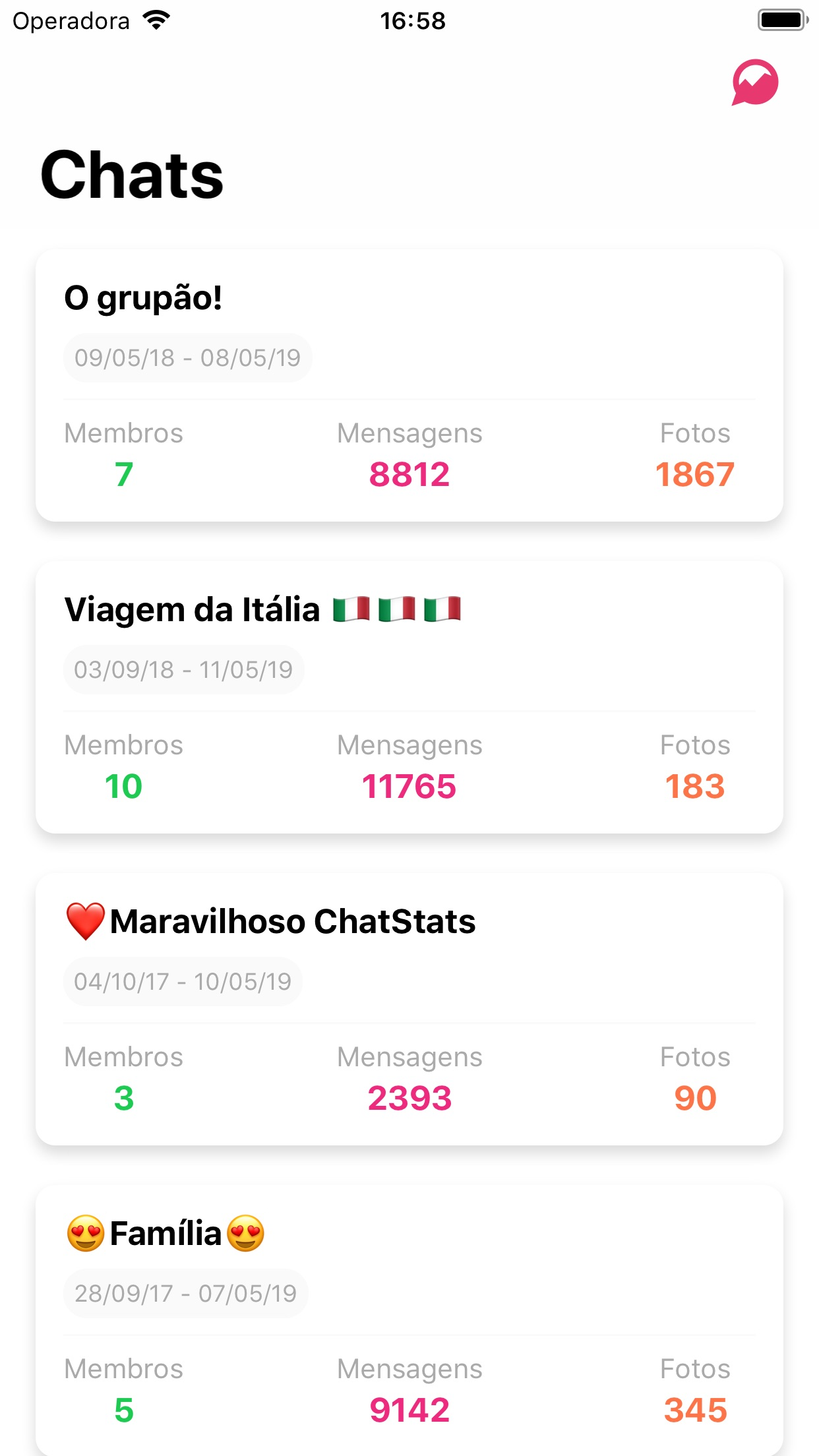 Screenshot do app ChatStats