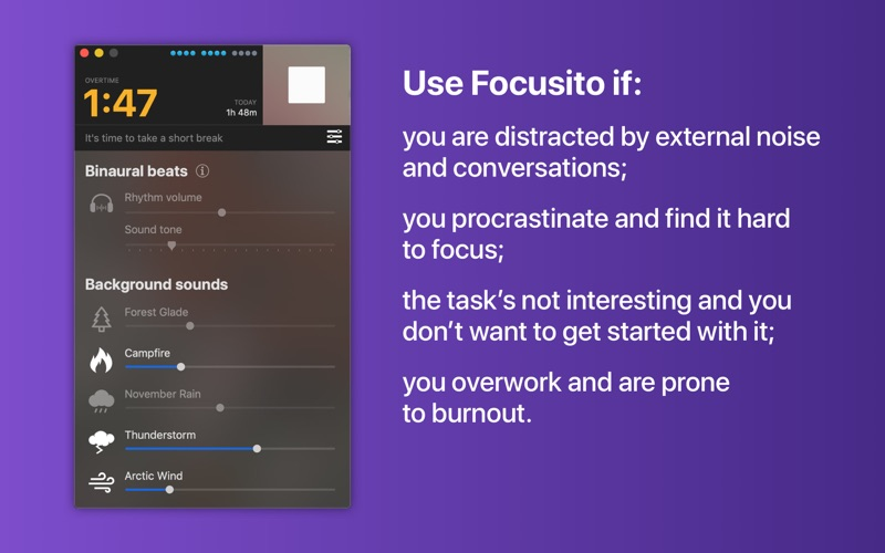 Focusito: flex pomodoro timer for Mac