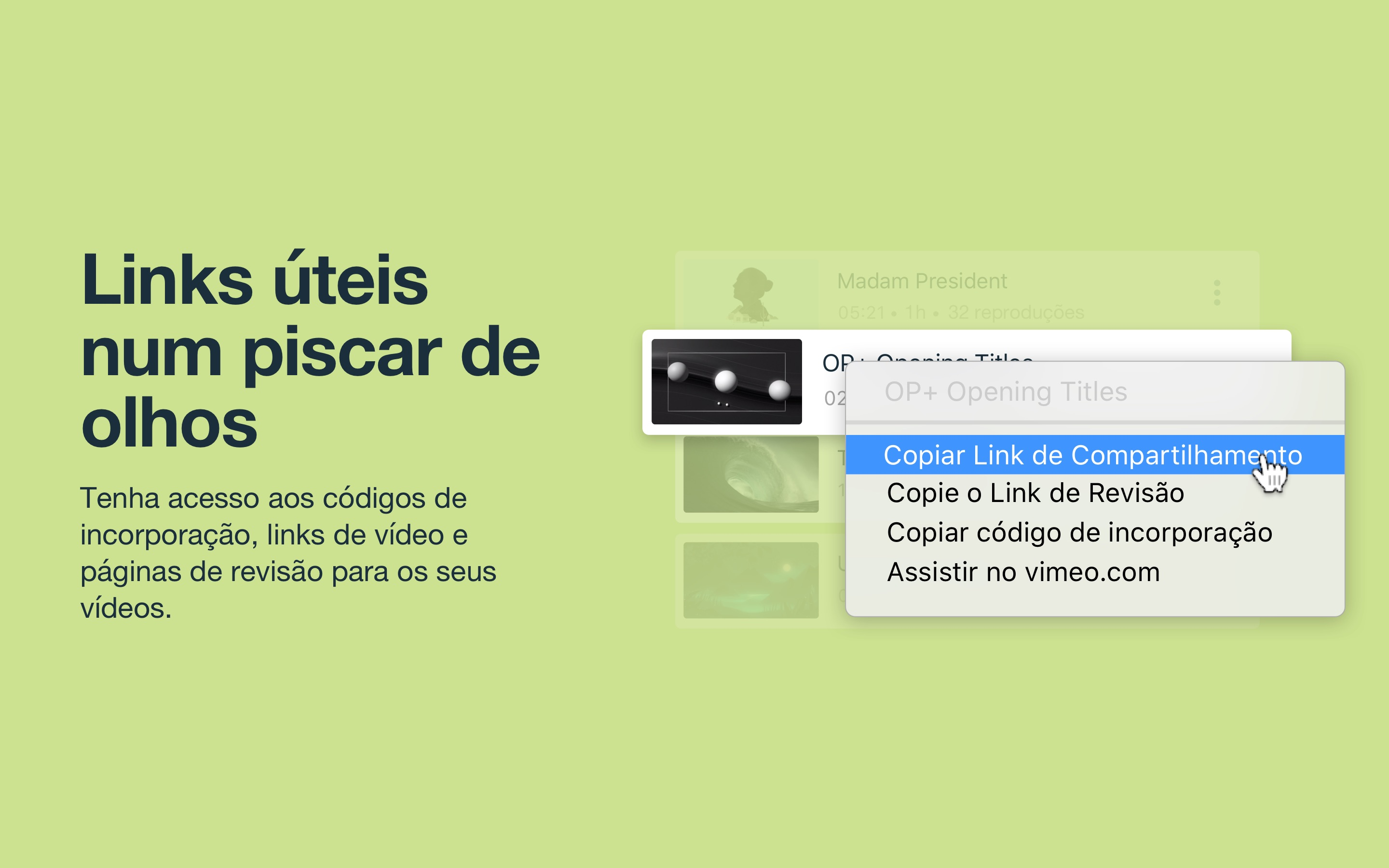 Screenshot do app Vimeo - Gerenciamento de vídeo