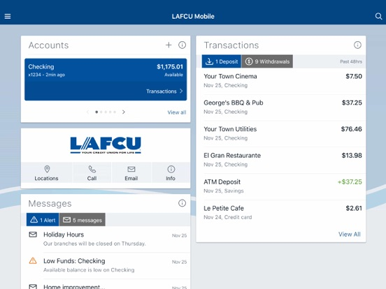 Ipad Screen Shot LAFCU Mobile 1
