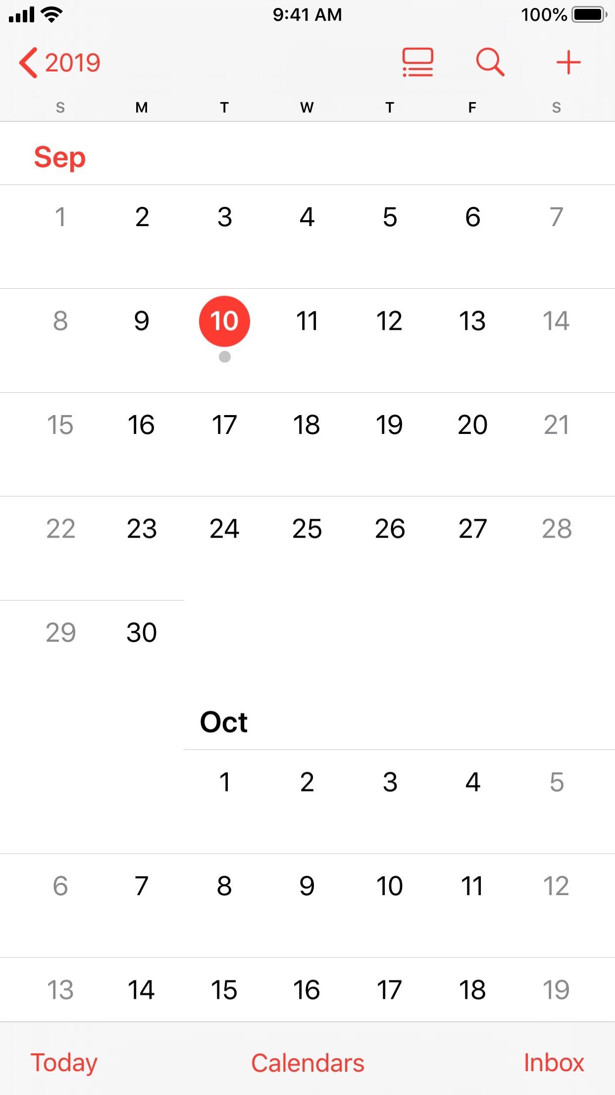 Screenshot do app Calendário