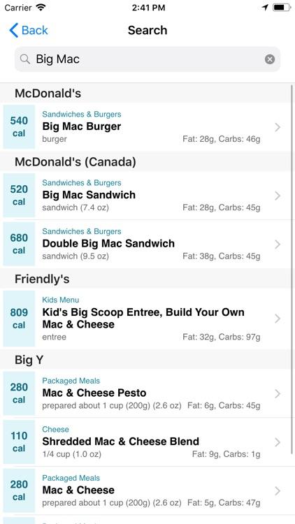 CalorieKing Food Search