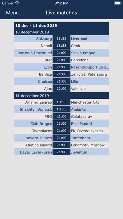 Champions League live screenshot-4