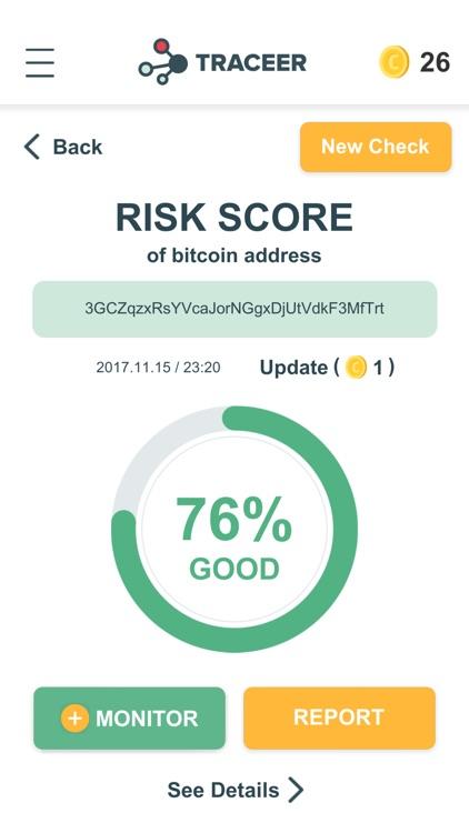 Traceer - check Bitcoins