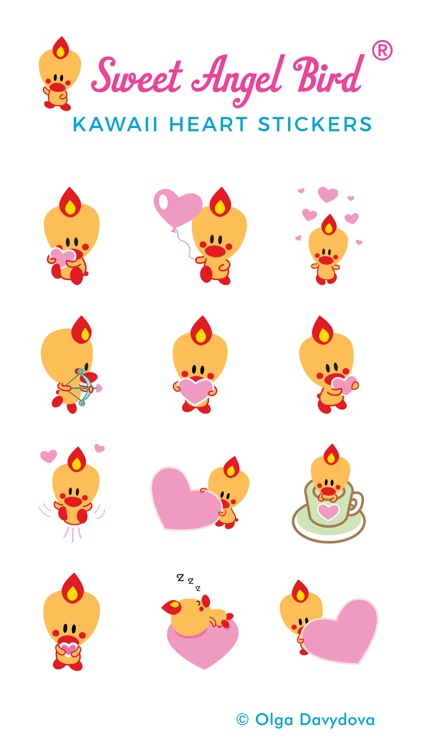 Sweet Angel Bird Kawaii Heart