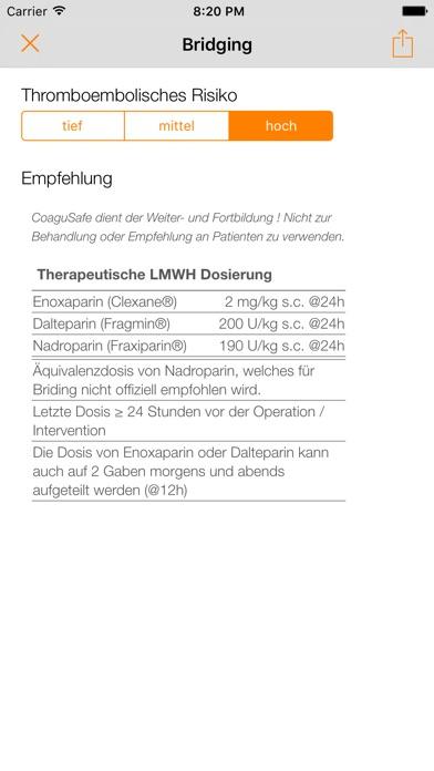 Screenshot for CoaguSafe - Antikoagulantien in Germany App Store