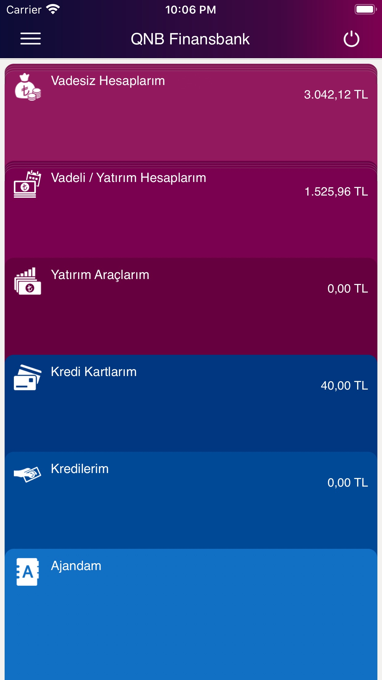 QNB Finansbank Mobile Banking Screenshot