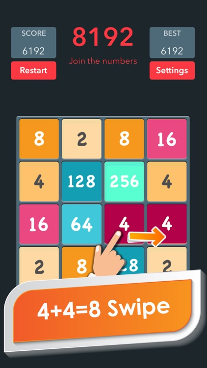 Classic 2048 puzzle game handy