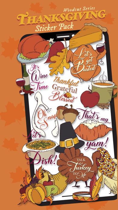Woodcut Thanksgiving Stickers screenshot one