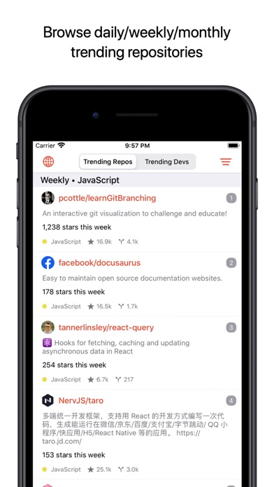 Github App review screenshots
