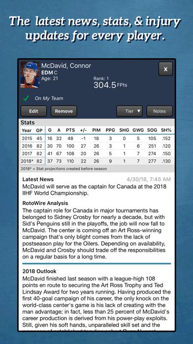 Fantasy Hockey Draft Kit '18 Screenshot