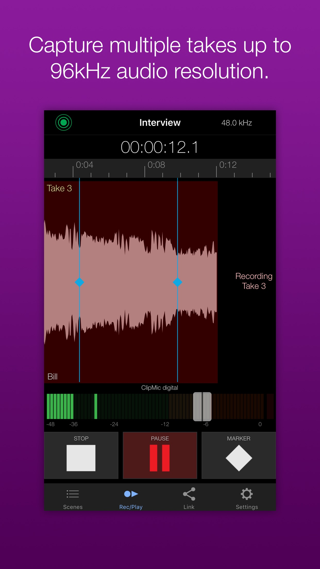 Screenshot do app Apogee MetaRecorder