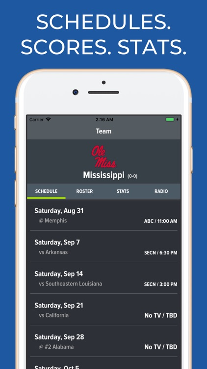 Mississippi Football Schedules