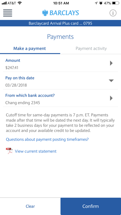 Screenshot for Barclays US in United States App Store