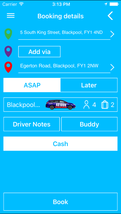Premier Taxis Booking App screenshot three