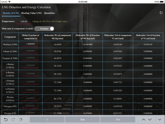 Screenshot #4 pour LNG Densities and Energy calc