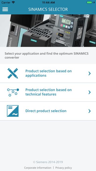 Screenshot of SINAMICS SELECTOR2
