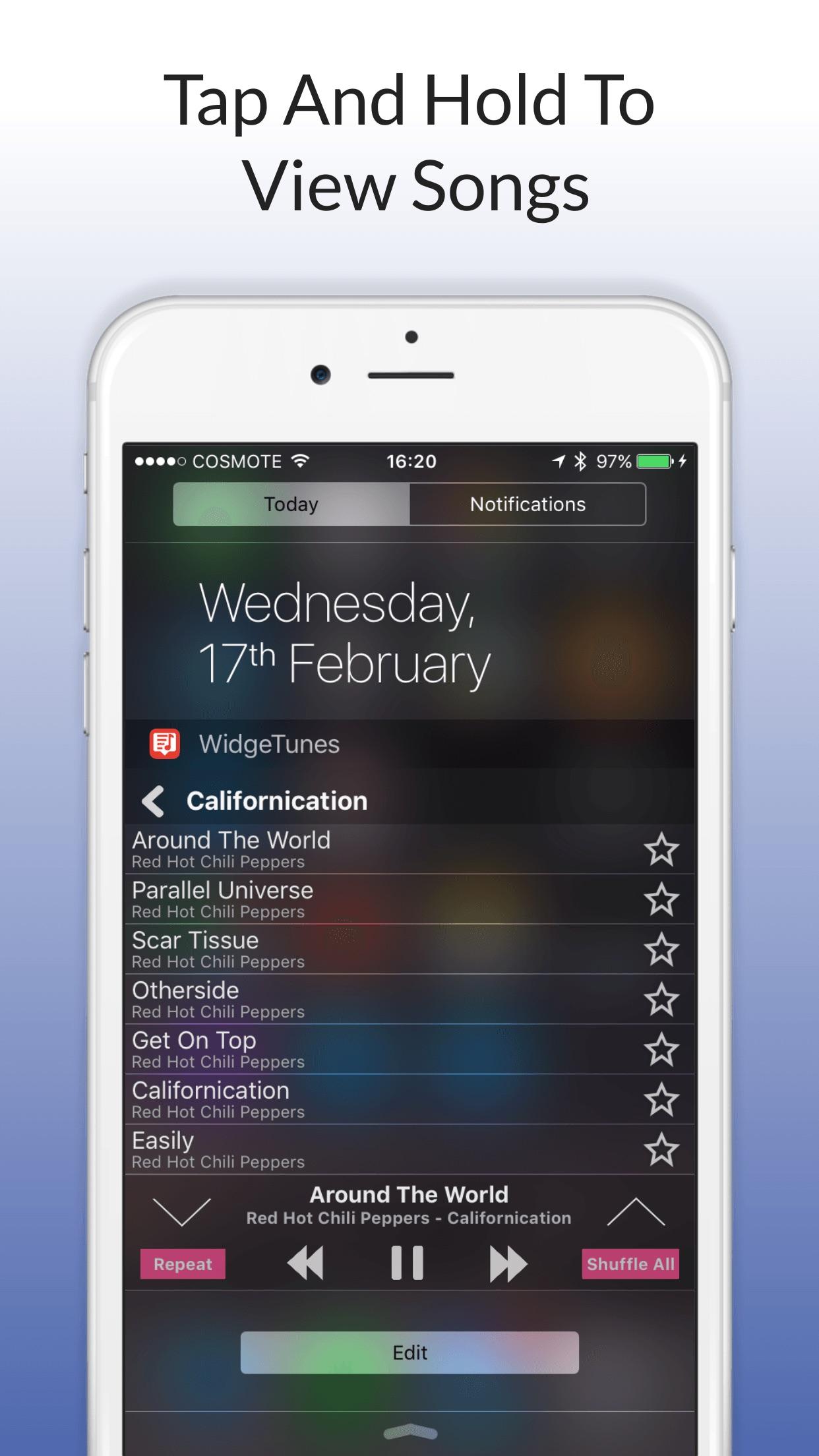 Screenshot do app WidgeTunes - The Music Widget