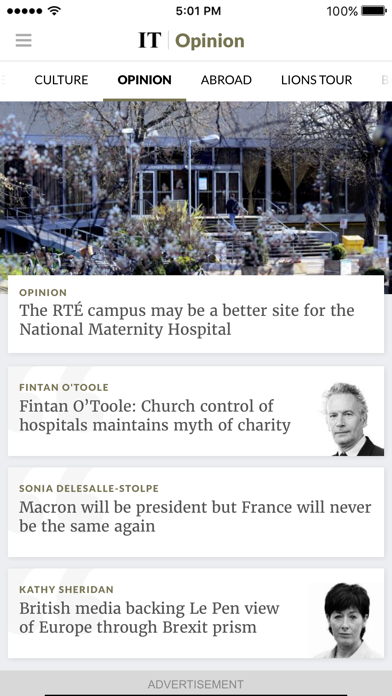 The Irish Times News Screenshot