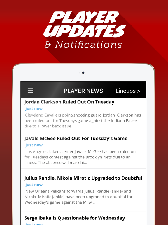 LineStar - Optimal Lineups for Y Sports - Daily Fantasy Basketball, Fantasy Baseball, and Fantasy Football 2016 screenshot