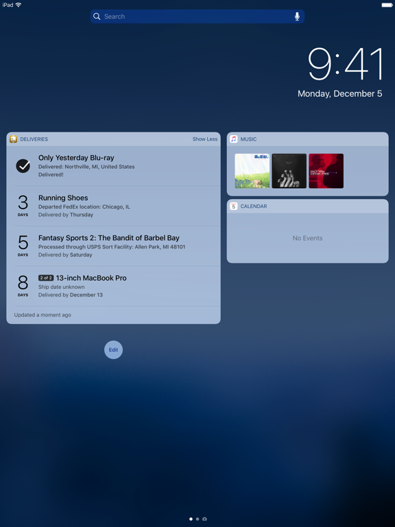 Delivery Status touch, a package tracker screenshot