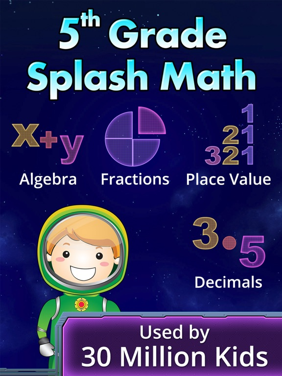 5th Grade Splash Math Common Core Worksheets App. Free fun educational games for kids to learn & practice numbers, integers, algebra, decimals, division, fraction, multiplication facts, geometry, time tables, flash cards. Cool activities to teach at home screenshot