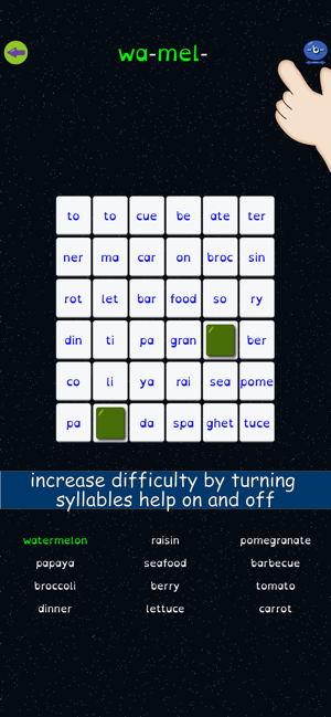 Syllable Word Search - School Screenshot