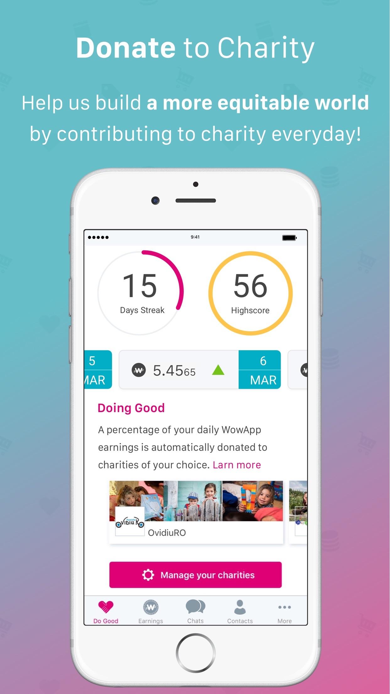 WowApp - Earn. Share. Do Good Screenshot
