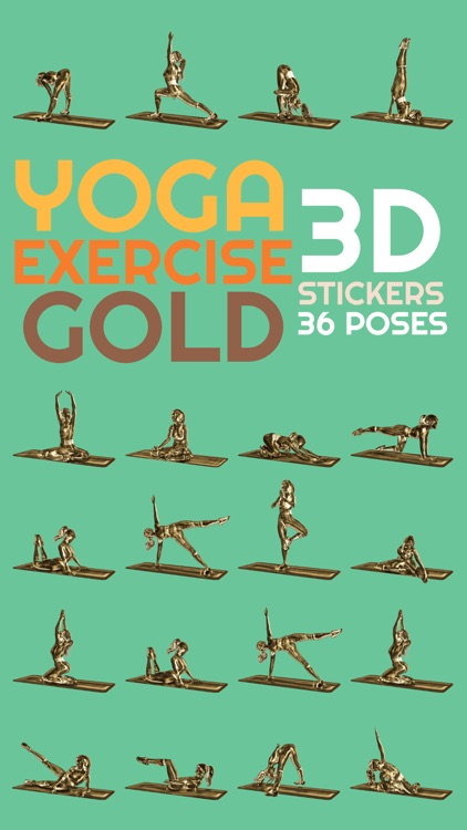 3D Exercise Yoga Gold Stickers