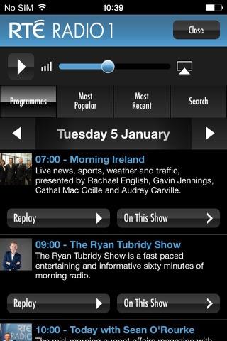 RTÉ Radio Player - náhled