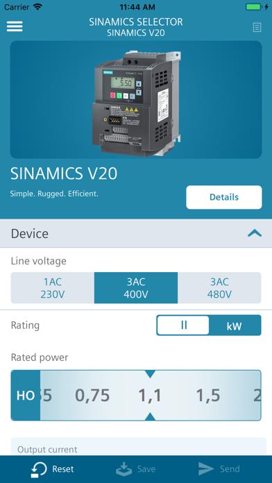 Screenshot of SINAMICS SELECTOR4