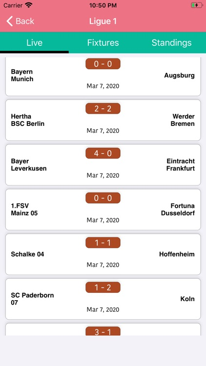 One Stop Football - Live Score