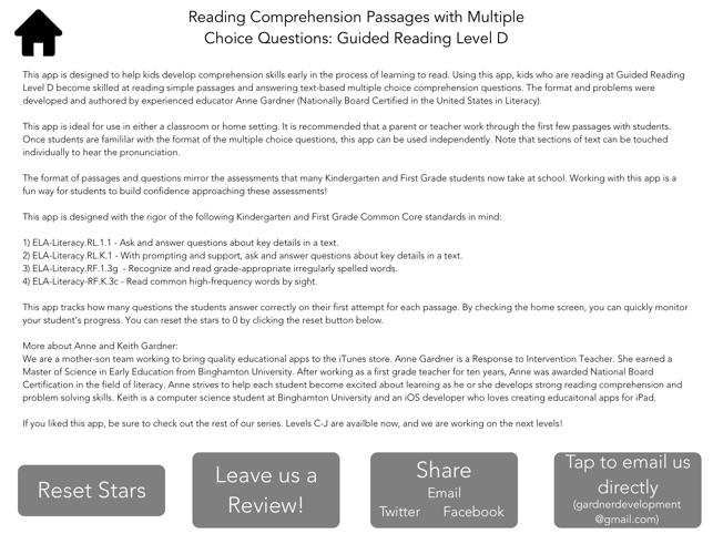 Reading Comprehension: Level D