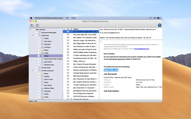 Stellar OLK Database Recovery скриншот программы 4