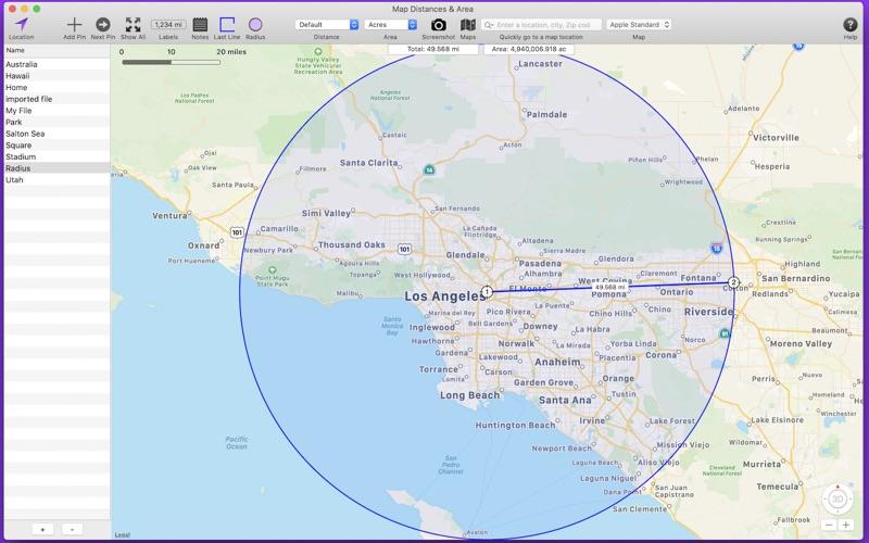 Map Distances & Area Screenshot
