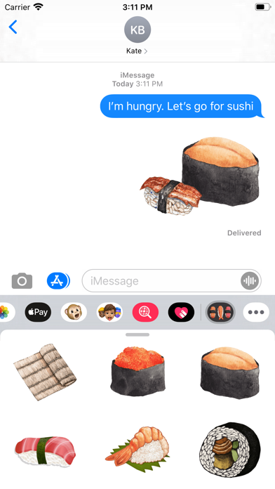 Tasty Japanese Sushi Stickers screenshot 1