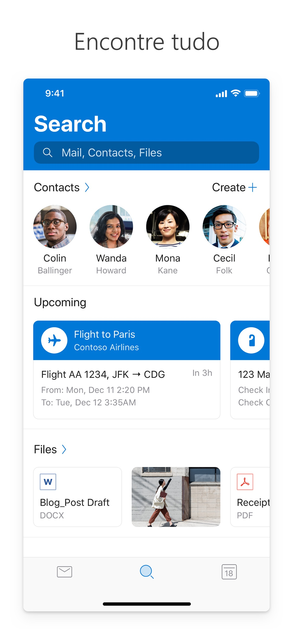 Screenshot do app Microsoft Outlook